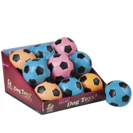 Игрушка Flamingo Soccerball Neon для собак, мяч цвет неон, искусственная кожа, 10 см, фото 2