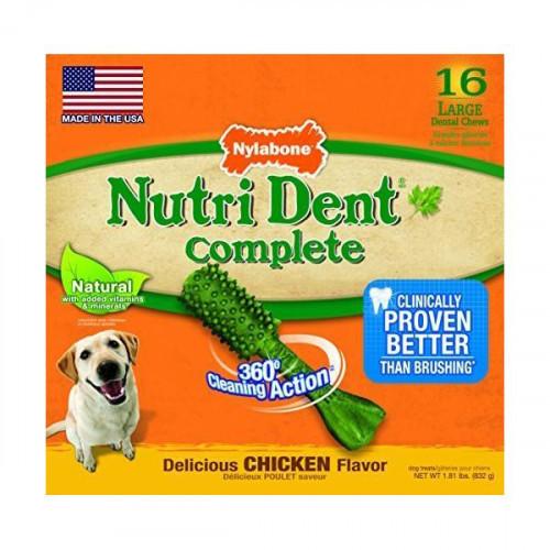 Лакомство Nylabone Nutri Dent Chicken Large для чистки зубов для собак, вкус курицы, 16 шт, цена за 1 шт
