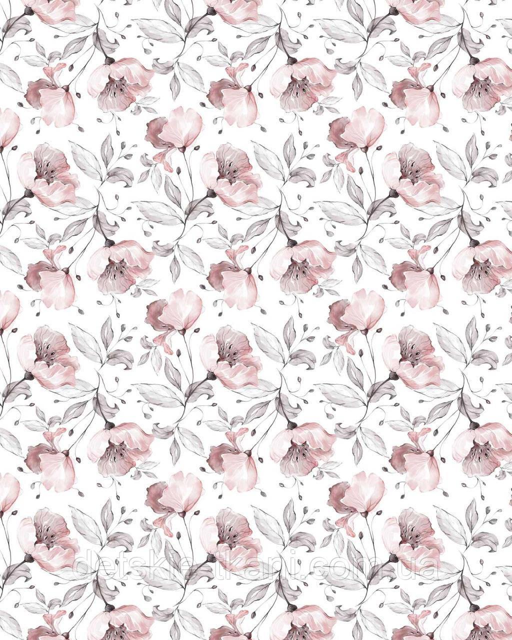 """Панелька из сатина для детского пледа """"Серо-пудовые цветы"""" 82*102 см"""