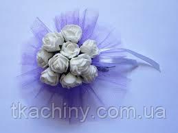 Бутоньерка свадебная  браслет с цветами  белая на руку гостям