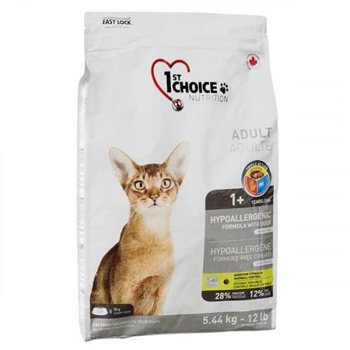 Сухой корм 1st Choice Adult Hypoallergenic без злаков, для кошек от 1 года, с уткой, 2,72 кг