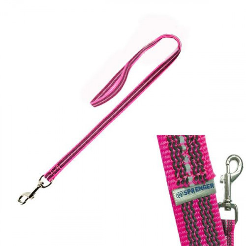 Прорезиненный поводок Sprenger для собак, с ручкой, нейлон, розовый, 120 см
