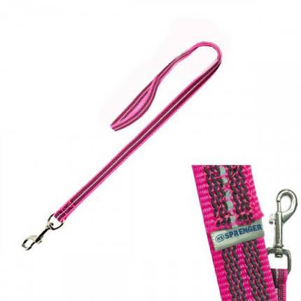 Прорезиненный поводок Sprenger для собак, с ручкой, нейлон, розовый, 120 см, фото 2