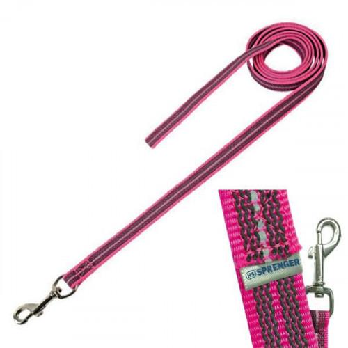 Прорезиненный поводок Sprenger для собак, без ручки, нейлон, розовый, 300 см