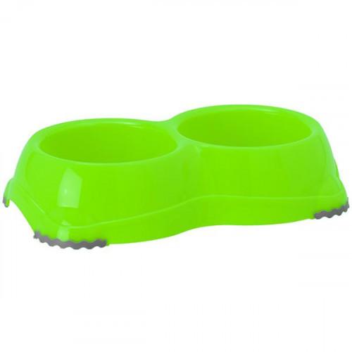 Двойная миска Moderna Смарти №1 для собак и кошек, пластик, ярко-зеленая, 2×330 мл, d-11 см