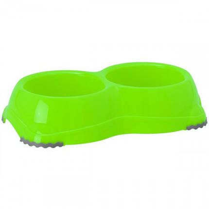 Подвійна миска Moderna Смарті №1 для собак і кішок, пластик, 2 х 330 мл, d-11 см, яскраво-зелена, фото 2