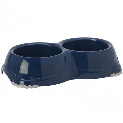Двойная миска Moderna Смарти №1 для собак и кошек, бирюзовая, 2×650 мл, d-14 см