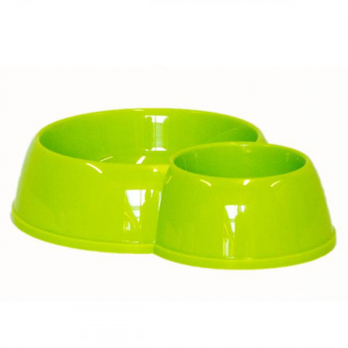 Двойная миска Moderna ЭКО для кошек, пластик 170-450 мл, серая, d-8-12 см