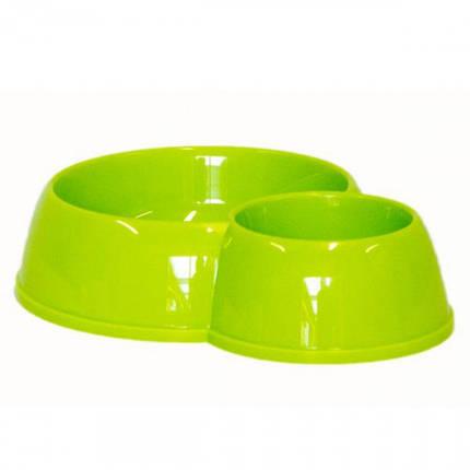 Подвійна миска Moderna ЕКО для кішок, пластик 170-450 мл, d-8-12 см, лимонна, фото 2