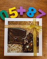 """Шоколадный набор """"Колокольчик и портфель"""" - черный шоколад"""