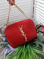Женская сумка клатч YSL замш и эко-кожа в красном цвете