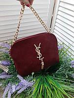 Женская сумка клатч YSL замш и эко-кожа в бордовом цвете