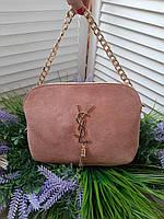 Женская сумка клатч YSL замш и эко-кожа в пудровом цвете