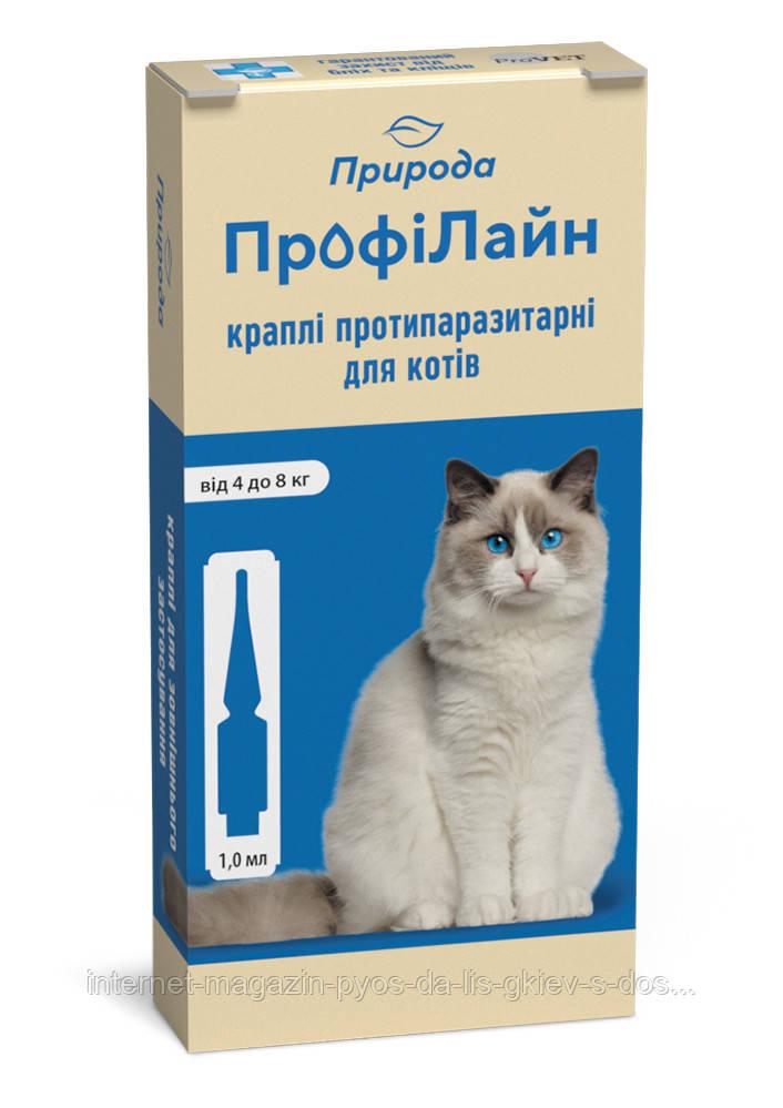 """Капли на холку """"Профілайн"""" для кошек от 4-8 кг 1уп.(1пипетка*1мл) от блох и клещей (инсектоакарицид)"""