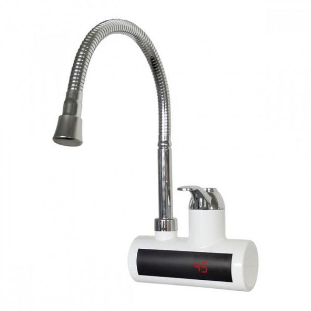 Проточный водонагреватель ZERIX ELW-21-EFW с LED экраном и рефлекторным изливом,  кран смеситель настенный