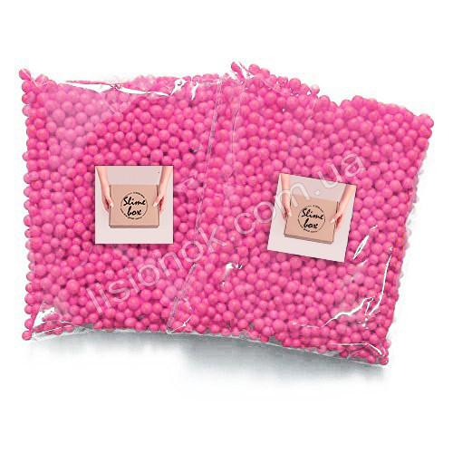 Малиновые пенопластовые шарики для слаймов – 2000 штук, для создания кранч слаймов (crunchy slime)