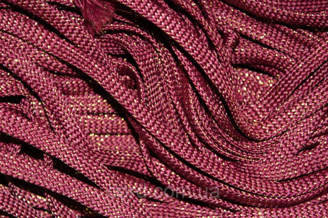 Шнур плоский чехол 8мм (100м) бордовый с золотом