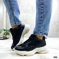 Стильные женские кроссовки черные эко-кожа+ текстиль, фото 1