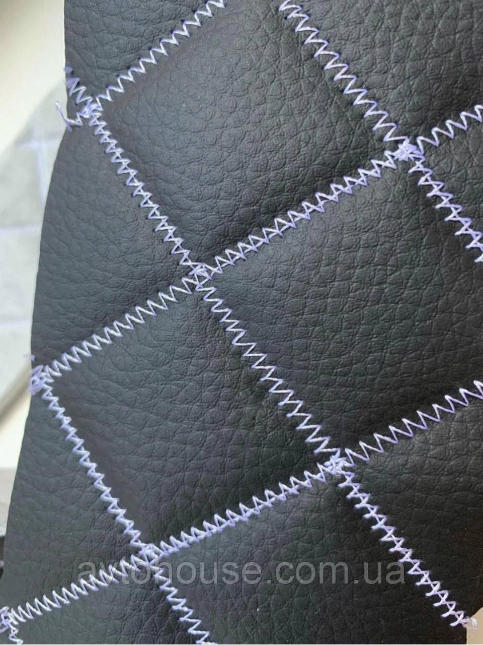 Прошитый кожзам для автомобилей дублированный поролоном и синтепоном. «Ромб».Турецкого производства