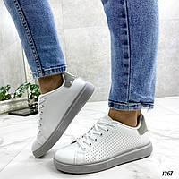 Стильные женские кроссовки белые с серой пяткой эко-кожа, фото 1