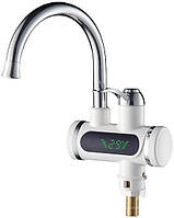 Проточный водонагреватель ZERIX ELW-10-E с LED экраном, мгновенный нагреватель воды Зерикс, кран смеситель
