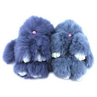 Брелок Кролик Зайчик меховой пушистый мягкий на рюкзак сумку 15см
