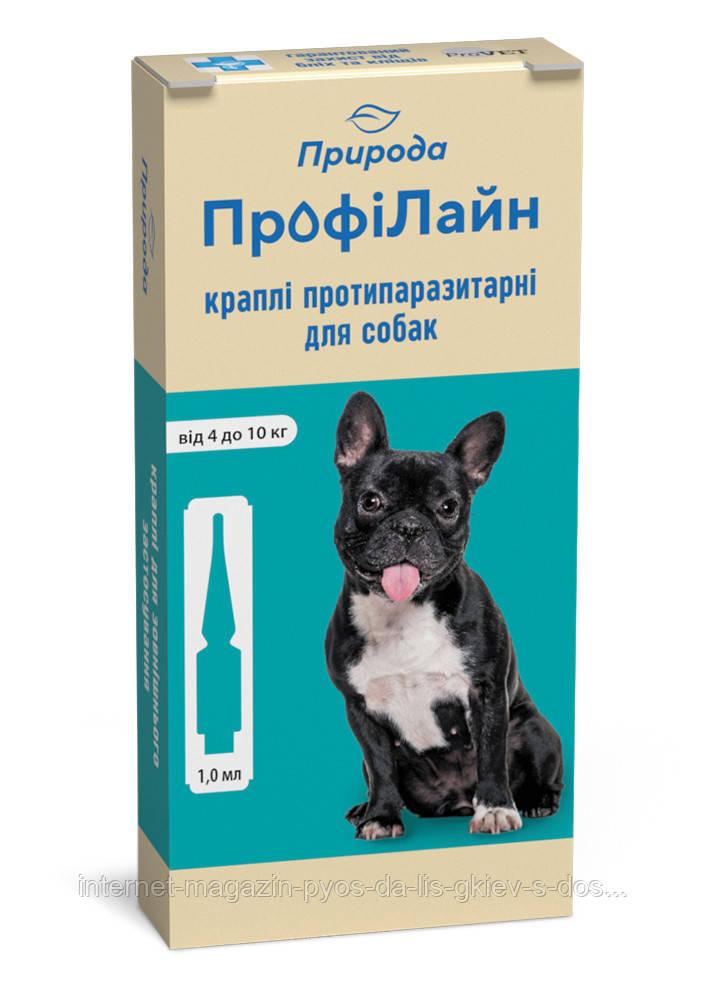"""Краплі на холку """"Профілайн"""" для собак від 4-10 кг 1уп.(1пипетка*1мл) від бліх і кліщів (інсектоакарицид)"""
