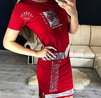Костюм женский футболка и юбка в камнях Турция, фото 1