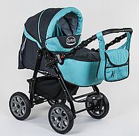 Коляска для детей Viki, модель 86- C 10, цвет бирюзовый с синим, переносная люлька, сумка, дождевик, корзина.