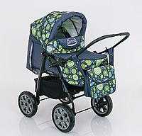 Коляска для детей Viki, модель 86- C 120, расцветка АБСТРАКЦИЯ, переносная люлька, сумка, дождевик, корзина.