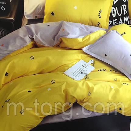 """""""Желтое со звездами"""" Постельное белье 3D эффект 160/220 см, нав-ки 70/70(2), фото 2"""