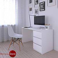 Компьютерный стол, письменный стол с тумбой на три выдвижных ящика c фасадами без ручек R-1