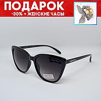 Очки женские солнцезащитные поляризованные черные +подарок часы +чехол Очки солнцезащитные кошачий глаз