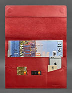 Кожаная папка для документов А4 на магнитах (красная), фото 2