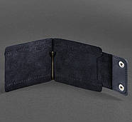 Зажим для денег кожаный 10.0 (кожа crazy horse) синий, фото 2