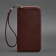 Кожаное портмоне на молнии 6.1 (бордовое), фото 3
