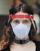 Щиток защитный для лица с красным тканевым фиксатором, защита лица от вируса