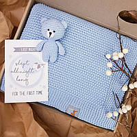 Плед Блакитний дитячий в'язаний HappyLittleFox, фото 1