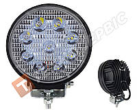 Светодиодная фара рабочего света 27W круглая на 9 диодов широкий корпус, дополнительная фара