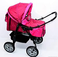 Коляска для детей Viki, модель 86- C 40, цвет малиновый, переносная люлька, сумка, дождевик, корзина.