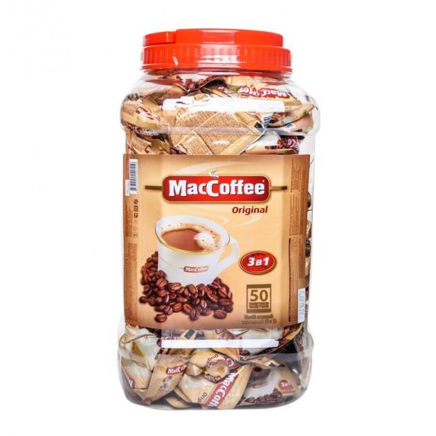 MacCoffee Оригінал 3 в 1 напій кавовий 50 пакетиків у пластиковій банці