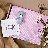Плед Рожевий дитячий в'язаний HappyLittleFox, фото 1
