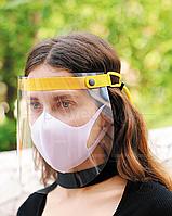 Защитный экран для лица с желтым тканевым фиксатором, защита лица от вируса