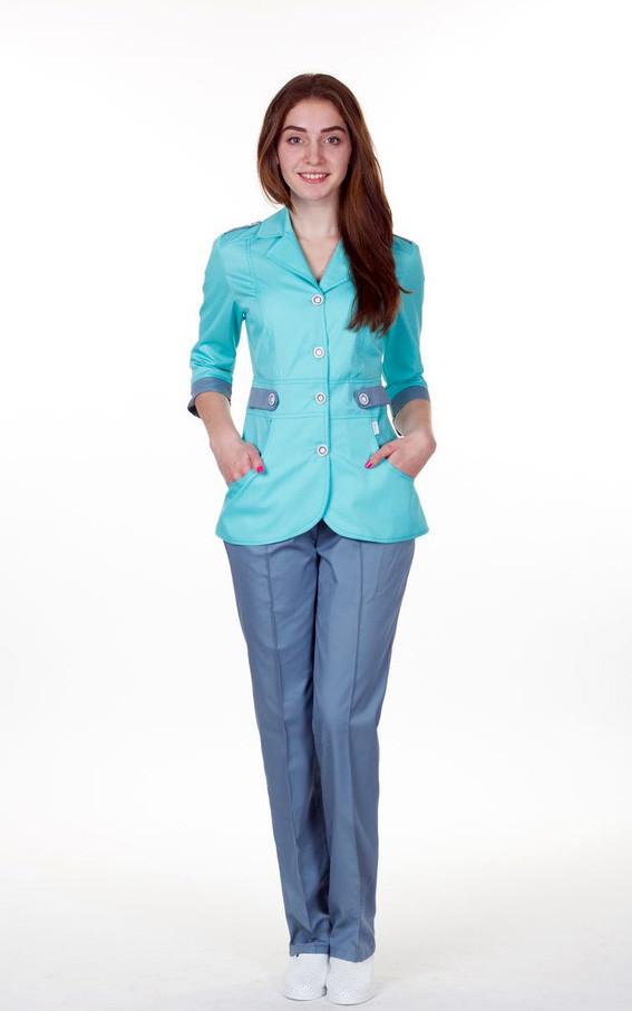 d215fc304d9 Распродажа Медицинский костюм женский бело-бирюзовый 48 размер