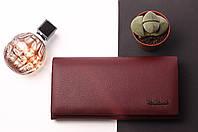 Кожаный женский бордовый кошелек Cardinal двойного сложения на магните из натуральной кожи, клатч, портмоне