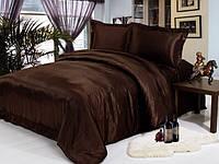 Двуспальный комплект постельного белья из атласа Шоколад