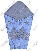 Летний конверт на выписку Звездочки голубой с серым