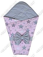 Летний конверт на выписку Звездочки розовый с серым