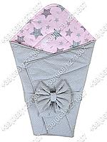 Летний конверт на выписку Звездочки серый с розовым
