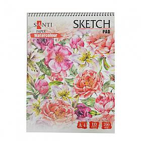 "Альбом для акварели SANTI ""Floristics"", А4, ""Paper Watercolour Collection"", 10 л., 200г/м2"